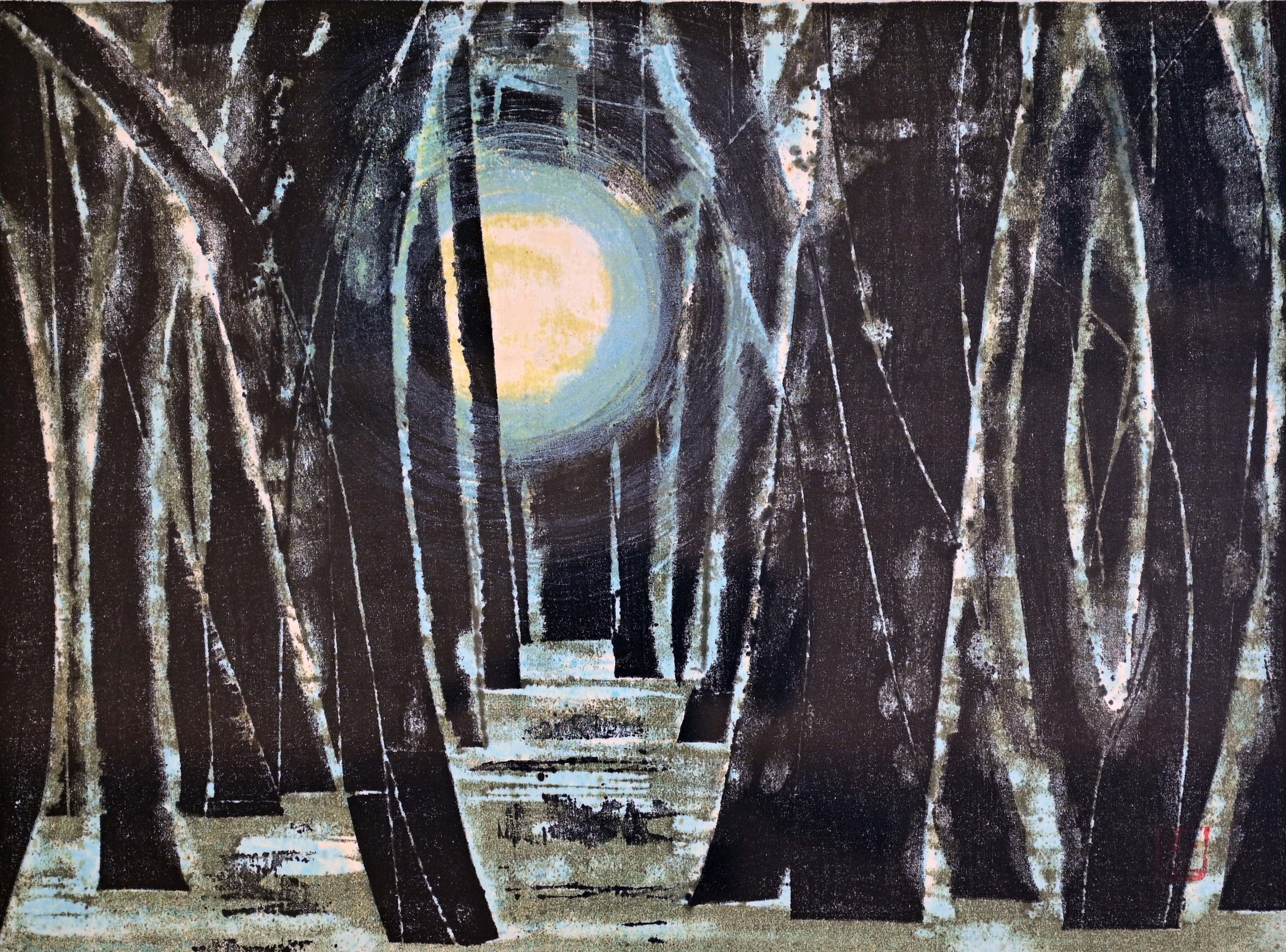 星 襄一:森に棲む月(木版画)