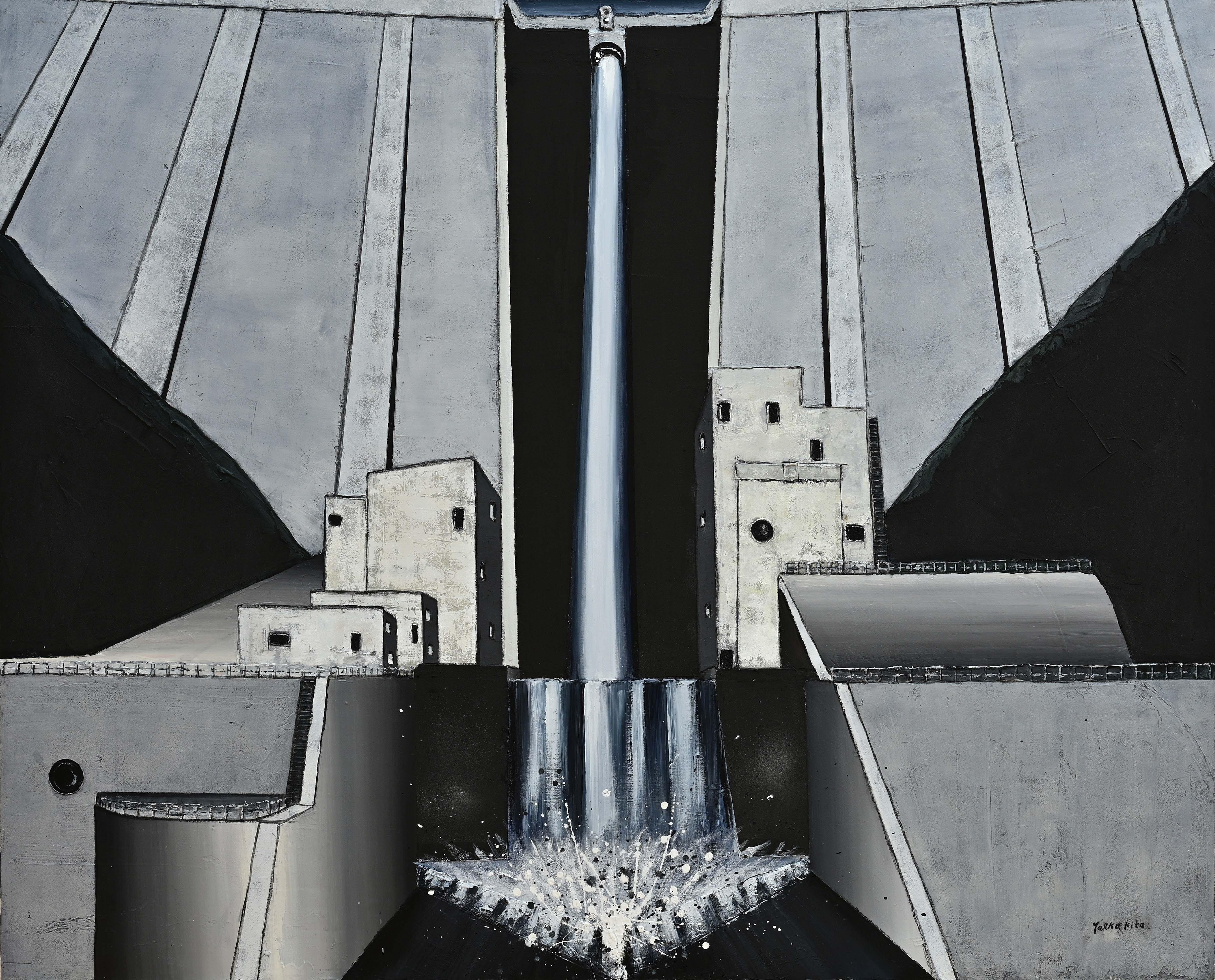 北 八重子:DAM 貯水ダム-瀑布(油彩画)